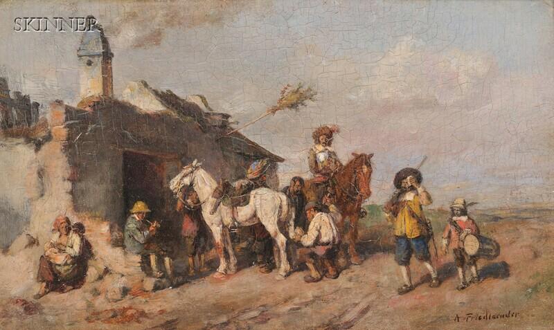 Alfred Ritter von Malheim Friedländer (Austrian, 1860-1927)      Cavaliers and Horses at a Smithy