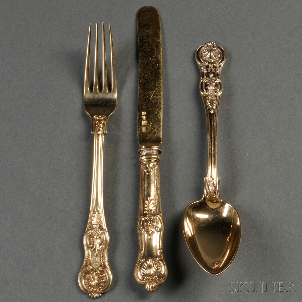 Imperial Russian Gold-washed .875 Silver Flatware Service