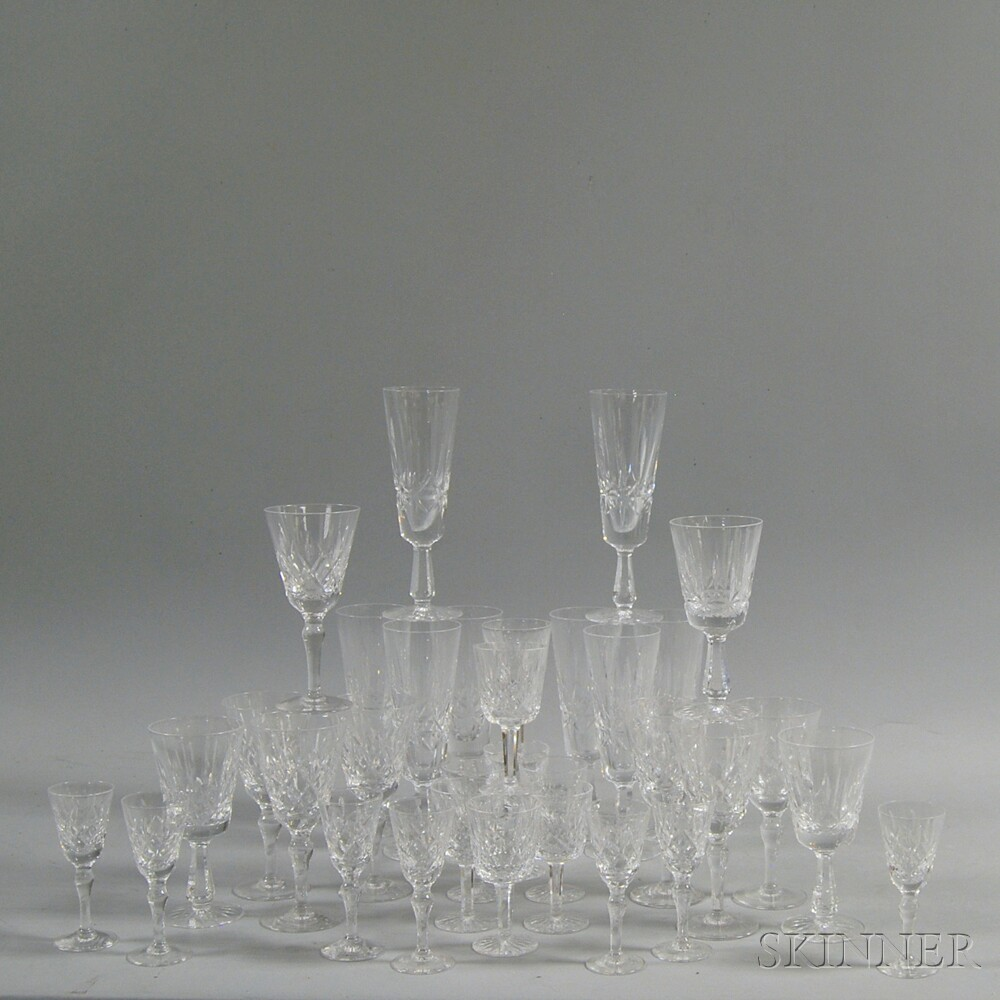 Thirty-three Pieces of Waterford and Stuart Colorless Crystal Stemware