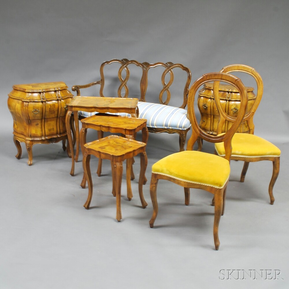 Group of Continental Carved Walnut and Burl Veneer Furniture