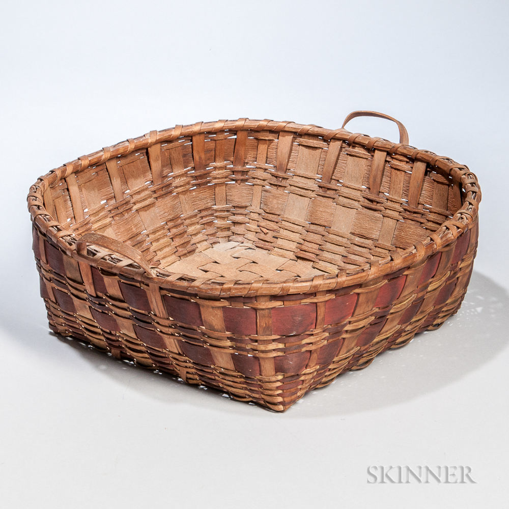 Native American Paint-decorated Handled Splint Basket