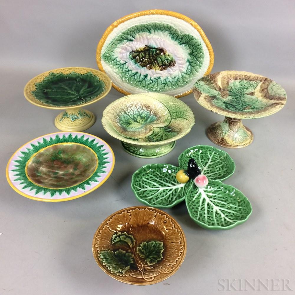 Twelve Majolica Ceramic Compotes and Dishes.     Estimate $200-400