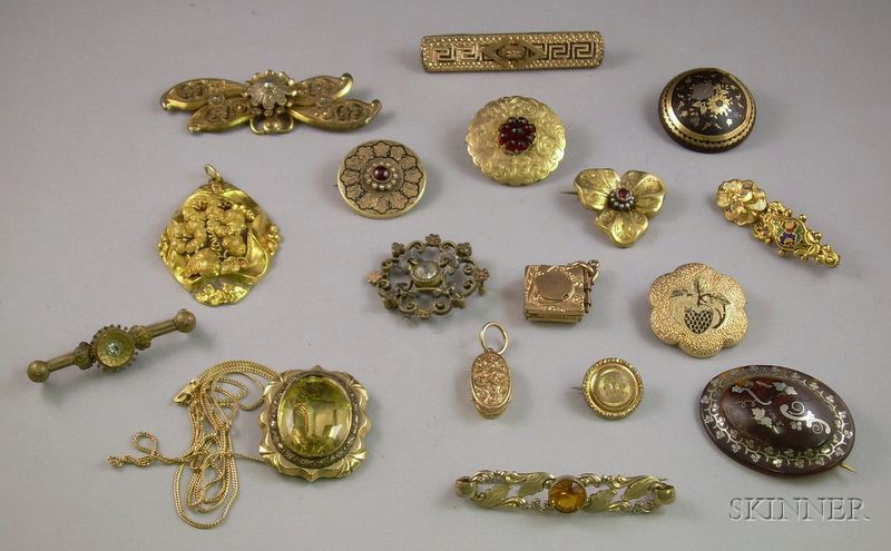 Group of Mostly Gilt Metal Enamel Decorated and Other Victorian Jewelry