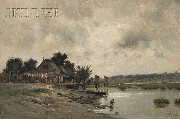 Richard Pauli  (American, 1855-1892)      Shacks and Docks on the River's Edge