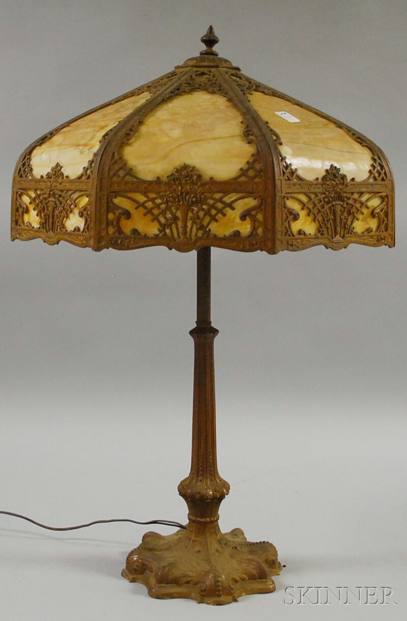 Gold-painted Cast Metal Table Lamp with Metal Overlay Bent Caramel Slag Glass Panel   Shade