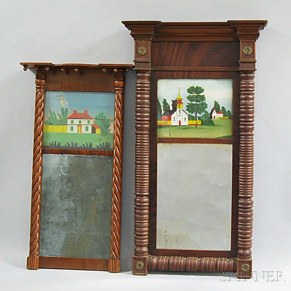 Two Federal Reverse-painted Mirrors