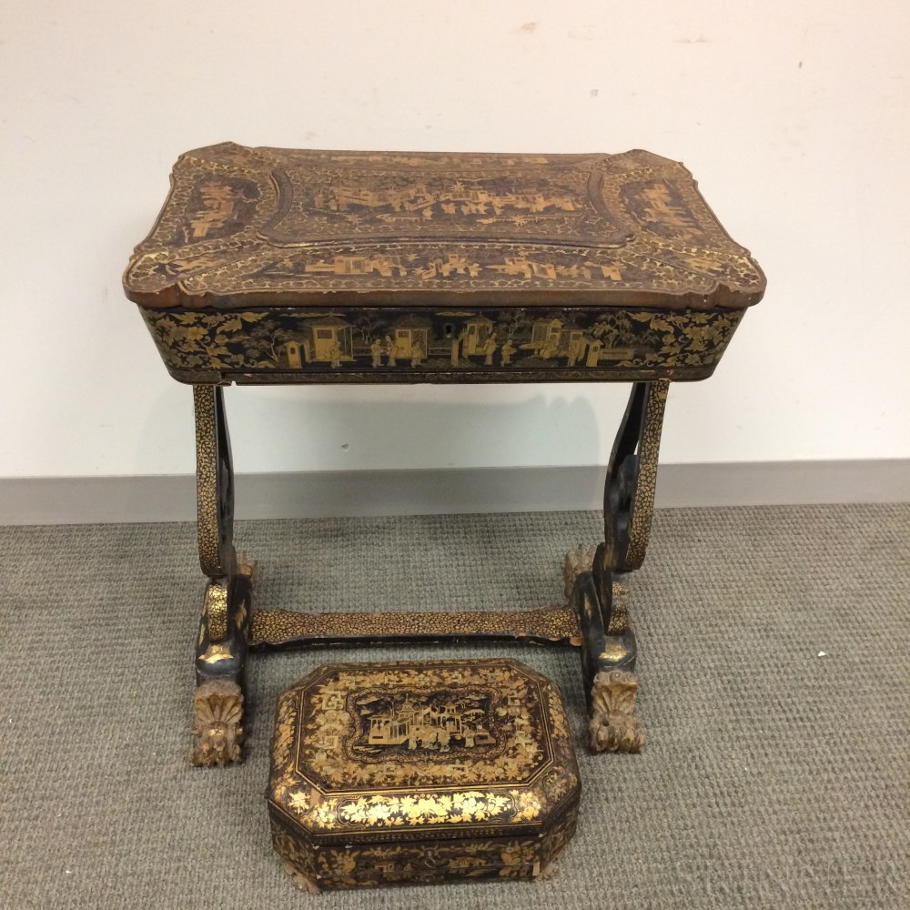 Chinese Export Lacquered Sewing Stand and Desk Box