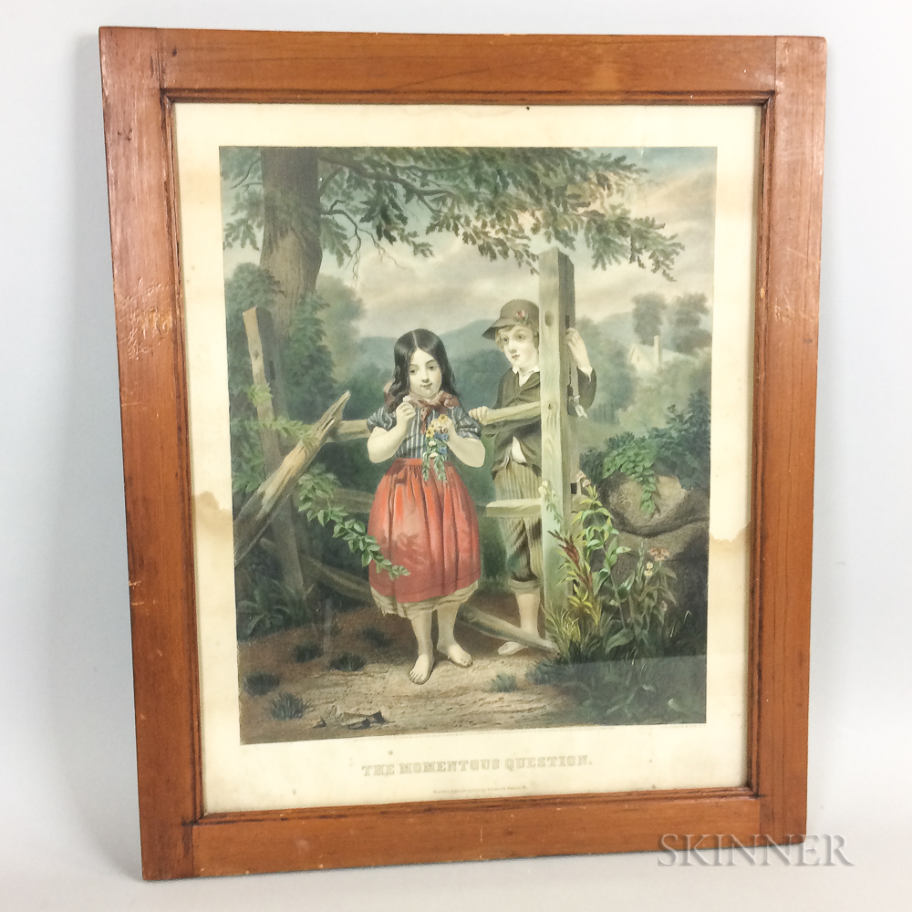 Framed Currier & Ives Lithograph The Momentous Question