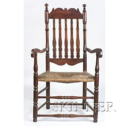 Maple and Ash Banister-back Armchair,
