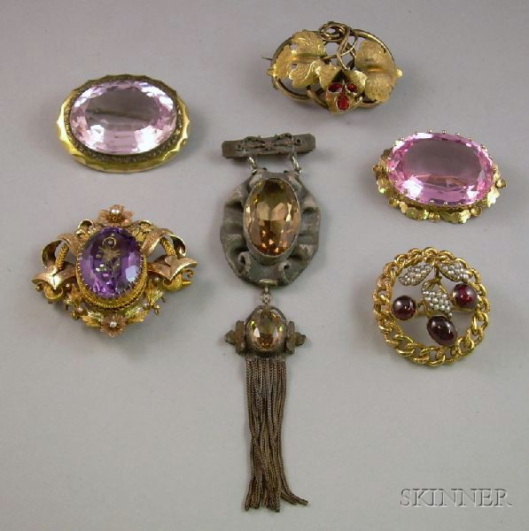 Six Victorian Mostly Gilt Metal and Cut Glass Brooches.