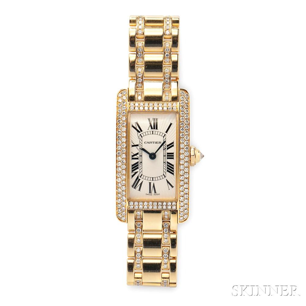 "Lady's 18kt Gold and Diamond ""Tank Americaine"" Wristwatch, Cartier"