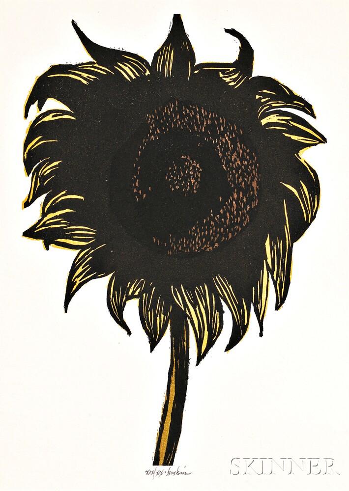 Leonard Baskin (American, 1922-2000)      Two Floral Works:  Untitled (Sunflower)