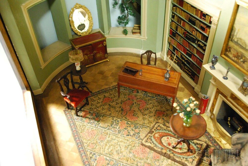 Classical Oblong Library Room Interior Diorama on a Georgian Mahogany Bureau