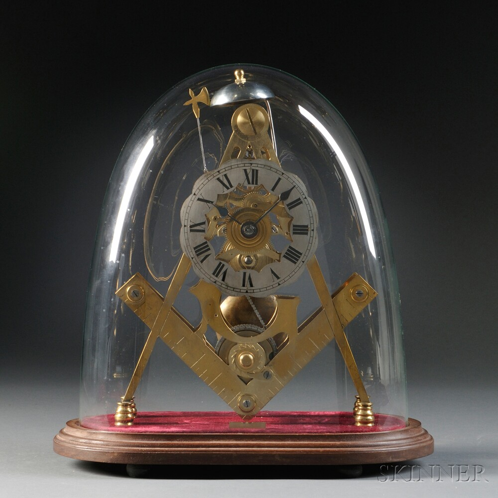 """Masonic"" Fusee Skeleton Clock"