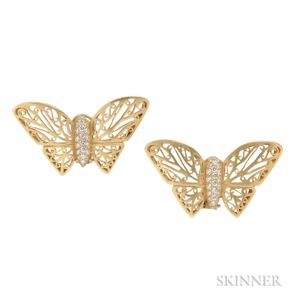 18kt Gold and Diamond Earrings, Barry Kieselstein-Cord