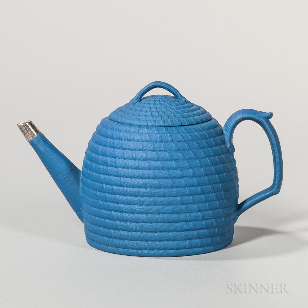 Wedgwood Blue Jasper Dip Beehive Teapot and Cover