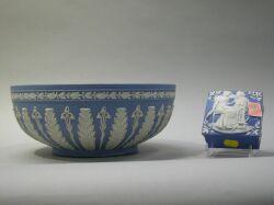 Wedgwood Light Blue Jasperware Fruit Bowl and a Jasperware Box.