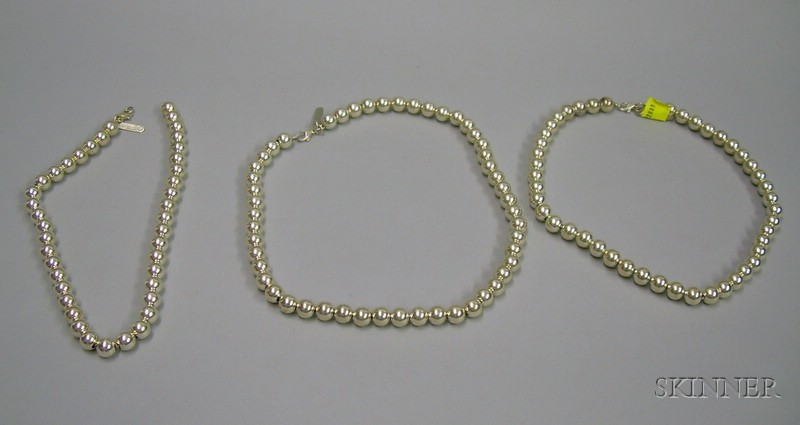 Three Modern Artist Designed Sterling Silver Beaded Necklaces