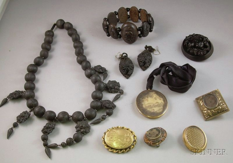 Four Pieces of Victorian Imitation and Genuine Gutta Percha Mourning Jewelry and Five Pieces of Hair Memorial J...