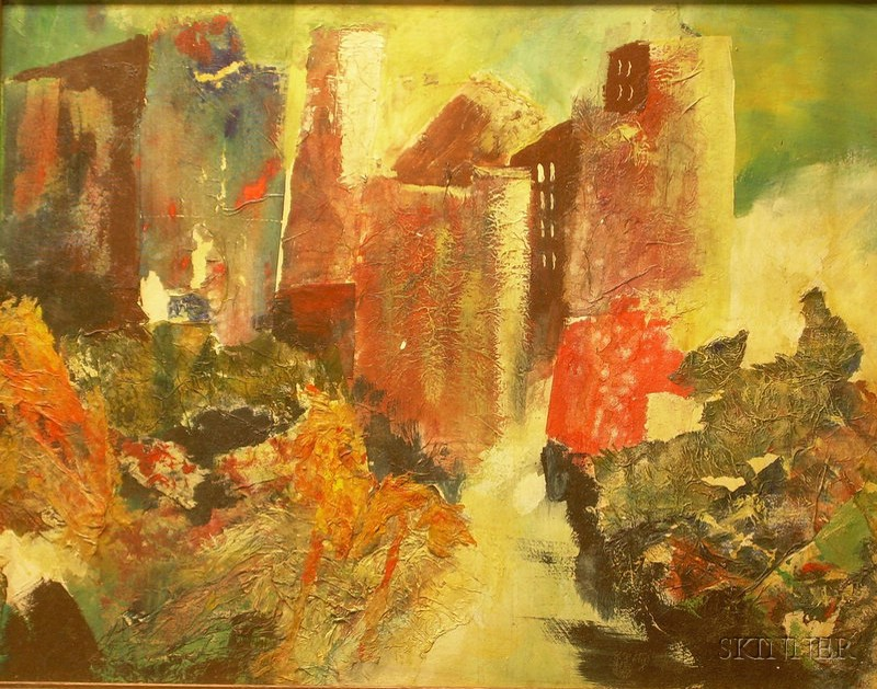 Framed Mixed Media on Masonite Abstract Urban Landscape