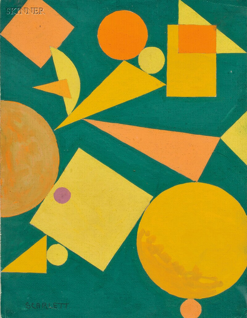 Rolph Scarlett (American, 1891-1984)      Abstract in Yellow and Orange on Green
