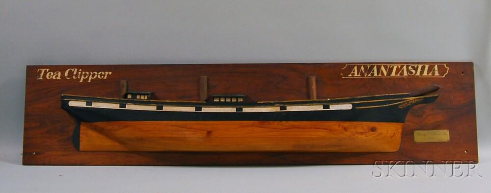 Wooden Half-hull Model of the Tea Clipper Anastasia