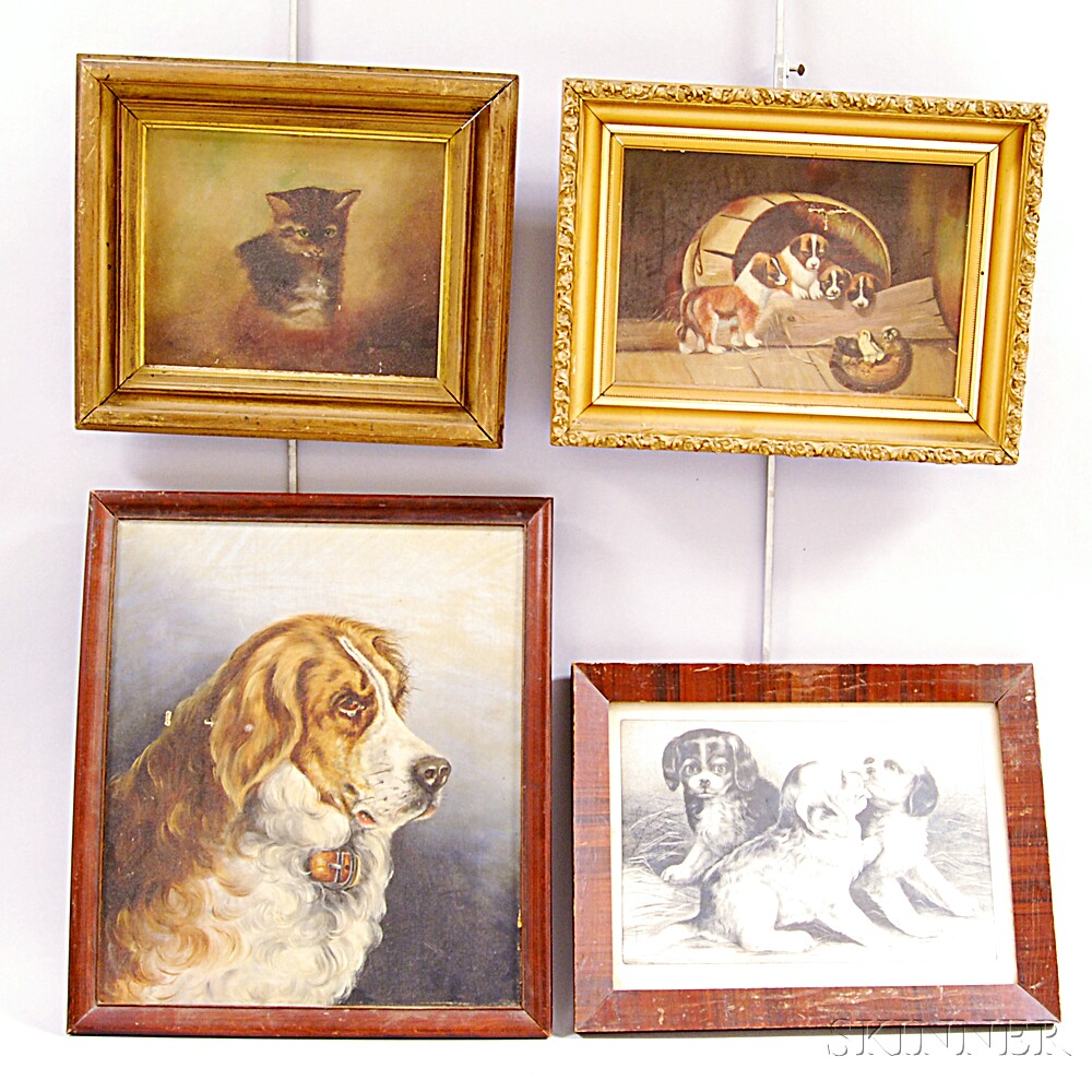 Four Framed Works Depicting Animals