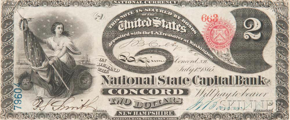 Sold for: $19,680 - The National State Capitol Bank of Concord $2 Original Banknote, PMG Very Fine 30 EPQ