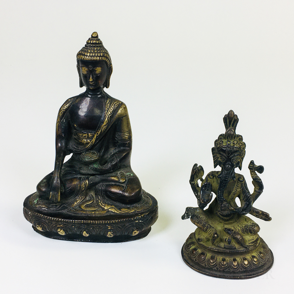 Two Bronze Sculptures of Ganesh and Buddha