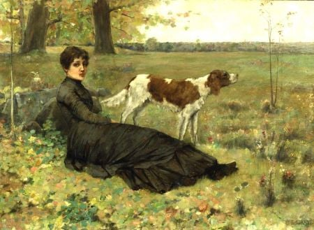 Clement Rollins Grant (American, 1849-1893)    Autumn Repose/Portrait of a Woman and Dog in a Landscape