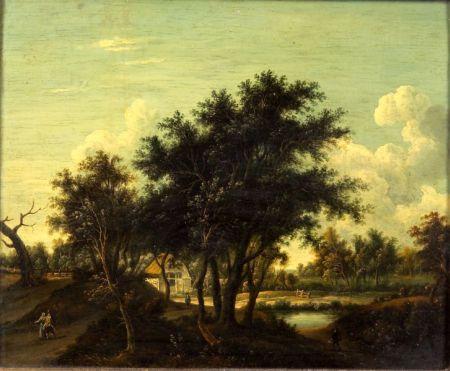 School of Meinert Hobbema (Dutch, 1638-1709)    Travelers on a Road Before a Farm House