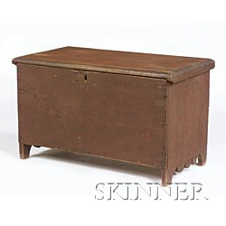 Diminutive Painted Six-Board Chest