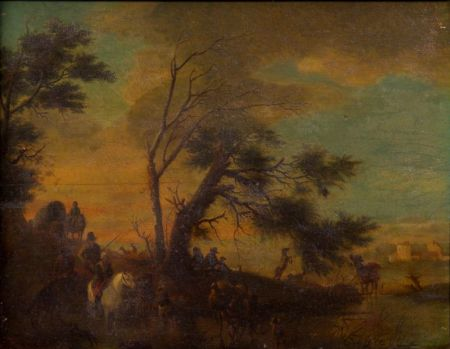 Manner of Philips Wouwerman (Dutch, 1619-1668)    Herders and Travelers in a Bucolic Landscape