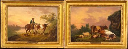 Attributed to Charles Towne (the Younger) (British, 1781-1854)    Pair of Landscapes:  Cows and Sheep Resting and Farmer Driving a Cow