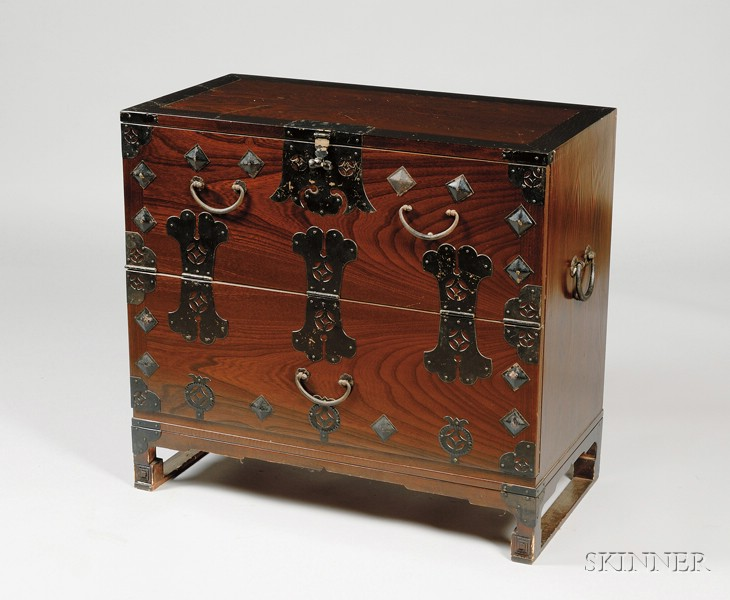 Asian Metal-mounted Elmwood Two-Drawer Chest