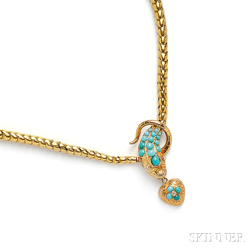 Antique Gold and Turquoise Snake Necklace