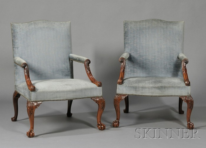 Sold for: $53,325 - Fine Pair of Early George III Carved Mahogany Library  Armchairs ... - European Furniture Skinner Auctioneers