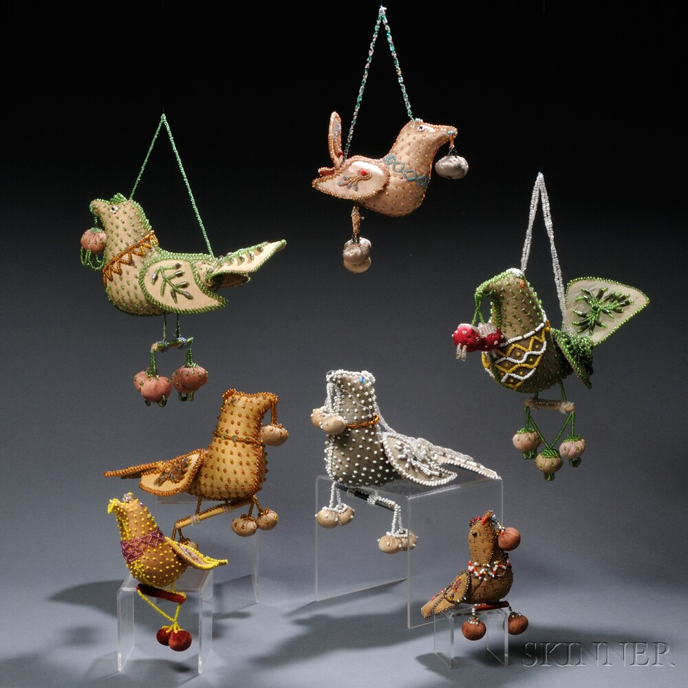 Seven Beaded and Stuffed Cotton Sateen Hanging Bird Whimsies
