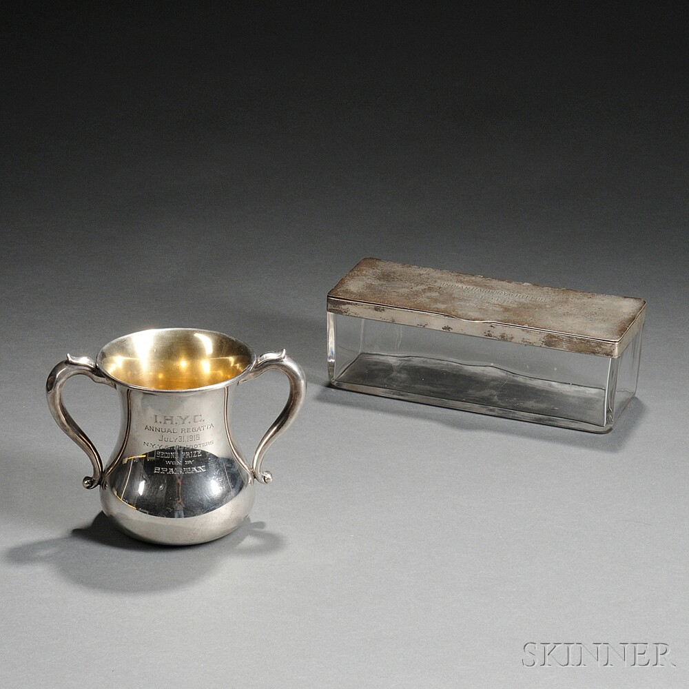 Two Sterling Silver-mounted Indian Harbor Yacht Club Trophies