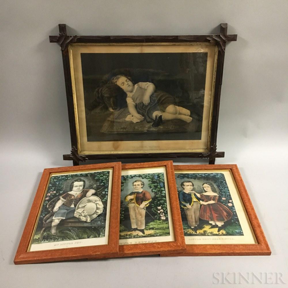 Four Framed Currier & Ives Lithographs