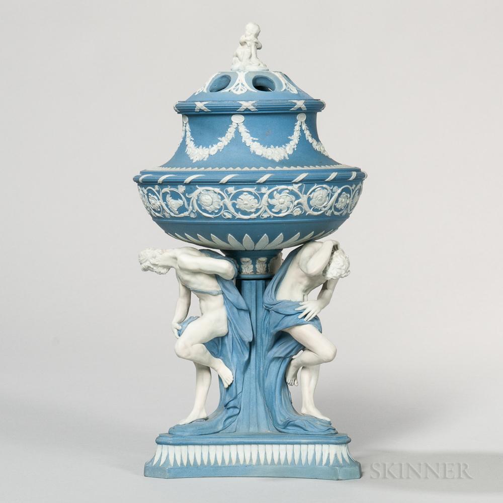 Wedgwood Solid Blue Jasper Michelangelo Potpourri Vase and Cover