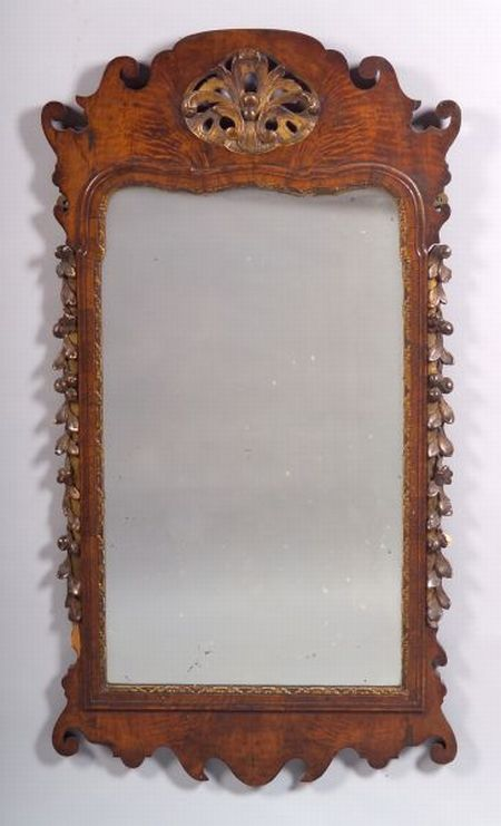 Queen Anne Style Burl Walnut and Parcel Gilt Mirror