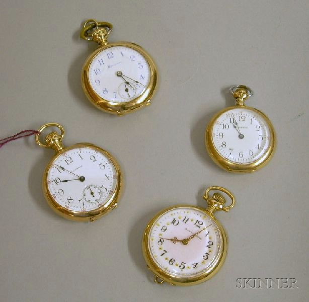 Four 14kt Gold Lady's Open Face American Pocket Watches