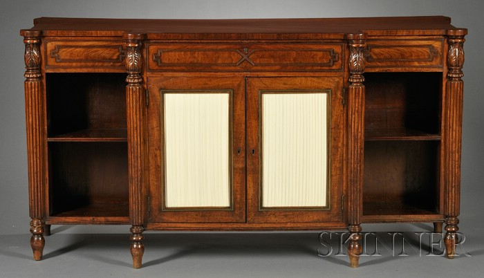 Regency Carved Mahogany Library Cabinet