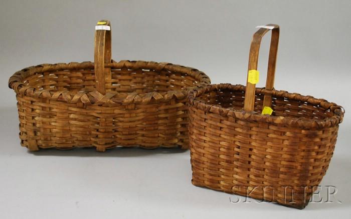 Two Woven Splint Oval Baskets