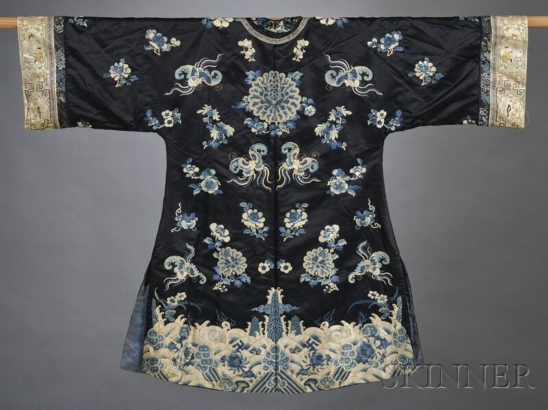 Embroidered Blue Silk Robe
