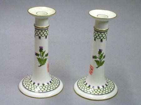 Pair of Wedgwood Bone China Candlesticks.