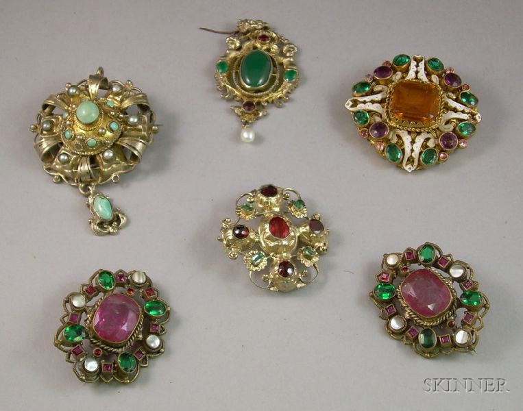 Six Pieces of Austro-Hungarian Stone Inset Jewelry