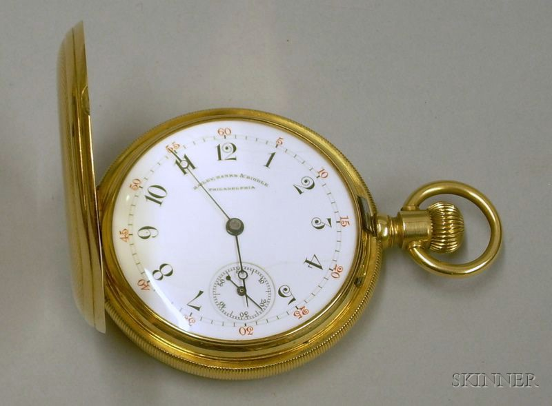 18kt Gold Bailey, Banks, & Biddle, Philadelphia Engine Turned Hunter Case Savonnette   Pocket Watch