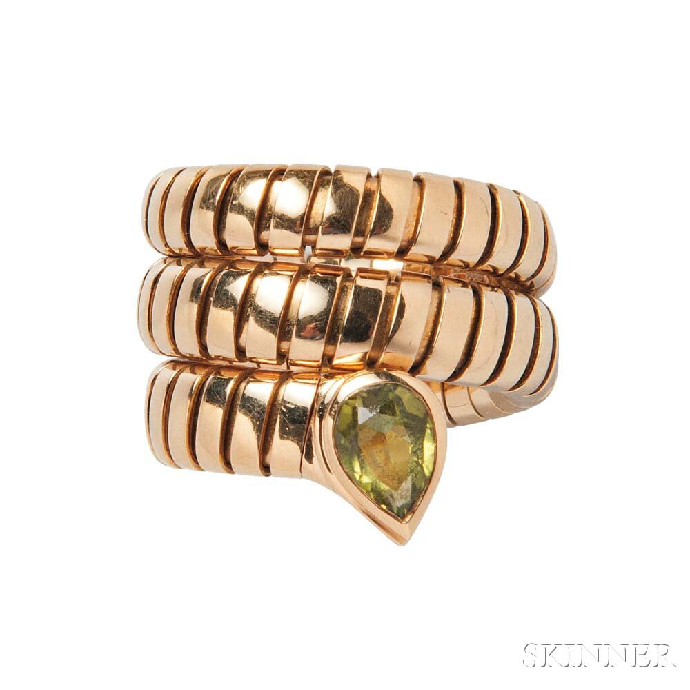 """18kt Gold and Peridot """"Serpenti"""" Ring, Bulgari"""